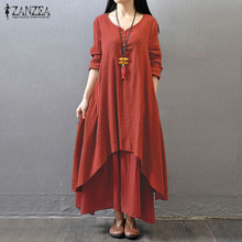 Plus Size S 5XL ZANZEA Women Buttons V Neck Casual Loose Long Maxi Shirt Dress Vintage