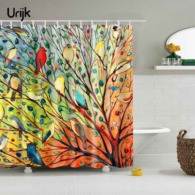 urijk 1pc colorful bathroom curtain cute birds tree printing home shower curtain for bath waterproof mildewproof - Colorful Shower Curtains