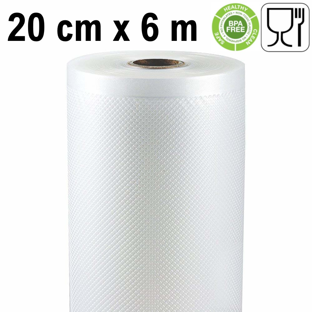 Embossed Roll Vacuum Storage 20 Cm X 6 Meters (2 Pieces) It Works With Most Of The External Vacuum Sealers Machines