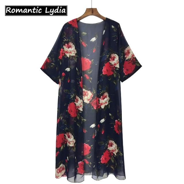 Kimono Cardigan Chiffon Blouse Womens Long Sleeve Shirts Fall 2017 ...