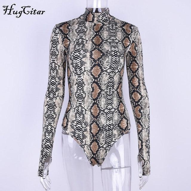 Hugcitar snake skin print long sleeve high neck fitted bodysuits 2019 autumn women streetwear clothing sexy snakeskin body 4