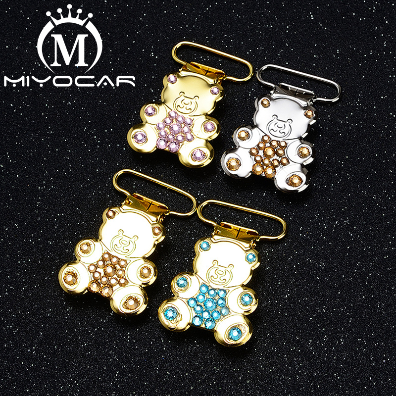 MIYOCAR  Unique Item Handmade  Bling Bear Shape Pacifier Clip Dummy Clip Pacifier Holder Good Quality Handmade Material SP025