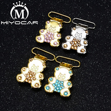 MIYOCAR  unique item handmade bling bear shape pacifier clip dummy holder good quality material SP025