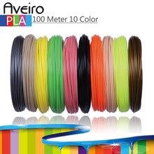 New 100 Meter 10 color/set 3D Pen Filament PLA 1.75mm Plastic Rubber Printing Material For 3D Printer Pen Filament