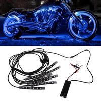 Car Styling 8pcs Car Motorcycle Strip Light LED Glow Light RGB Kit Remote Control Multi Color