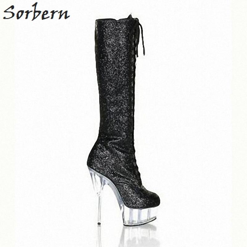 Sorbern Black Glitter Sequins Knee High Boots For Women See Through High  Heels Platform Round Toe 675301905220