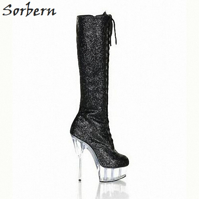 Sorbern Black Glitter Sequins Knee High Boots For Women See Through High Heels Platform Round Toe Lace Up Night Club Footwear red see through lace details star round neck t shirt