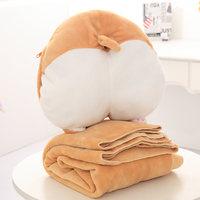 1pc Cute Plush Corgi Butt Pillow Hand Warmer Air Conditioning Blanket 3 In One Plush Animals Corgi Cushion Toys Kids Girls Toy