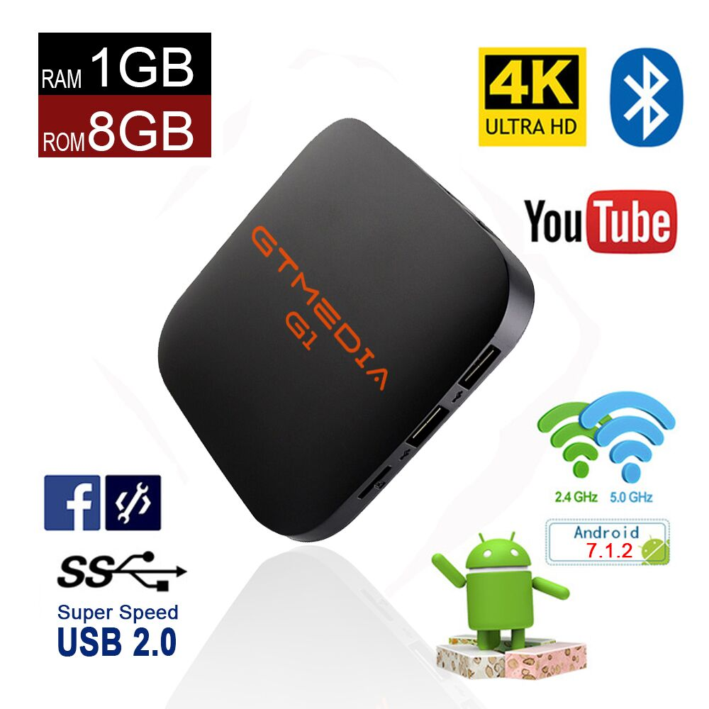 GTMEDIA G1 Android 7.1.2 OS Smart TV Box Amlogic S905W Quad Core Media Player Android TV Box 4K HD Support IPTV Set Top Box himedia m3 quad core android tv box home tv network player 3d 4k uhd set top box free shipping