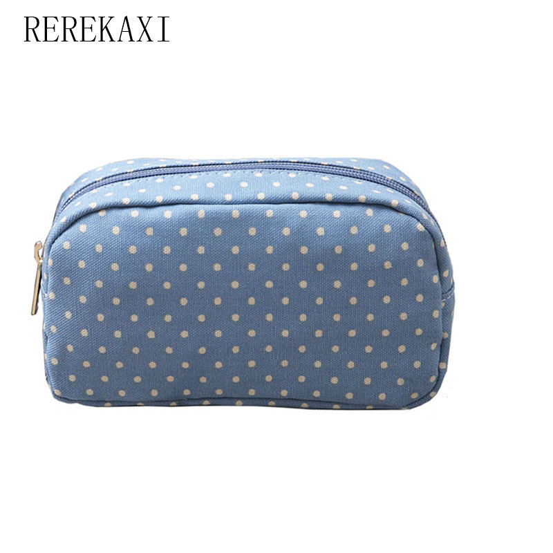 все цены на REREKAXI Casual Point Cosmetic Bag Canvas Make Up Bag Travel Portable Cosmetic Storage Bag Beauty Pack онлайн