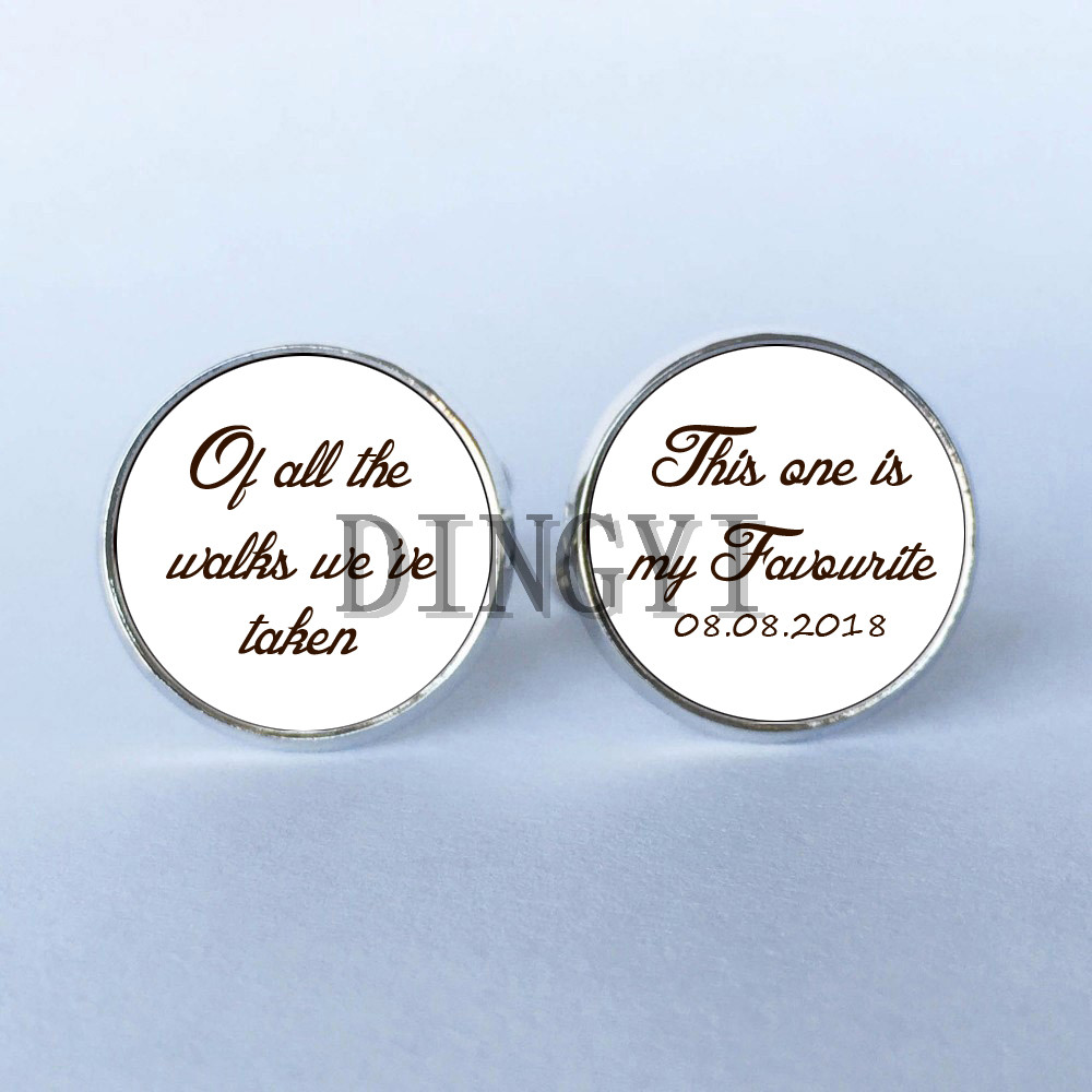 1 Pairs Wedding Cufflinks Personalized Father Of Bride Yo La Ame Custom Cufflinks Men Shirt Cuffs Button