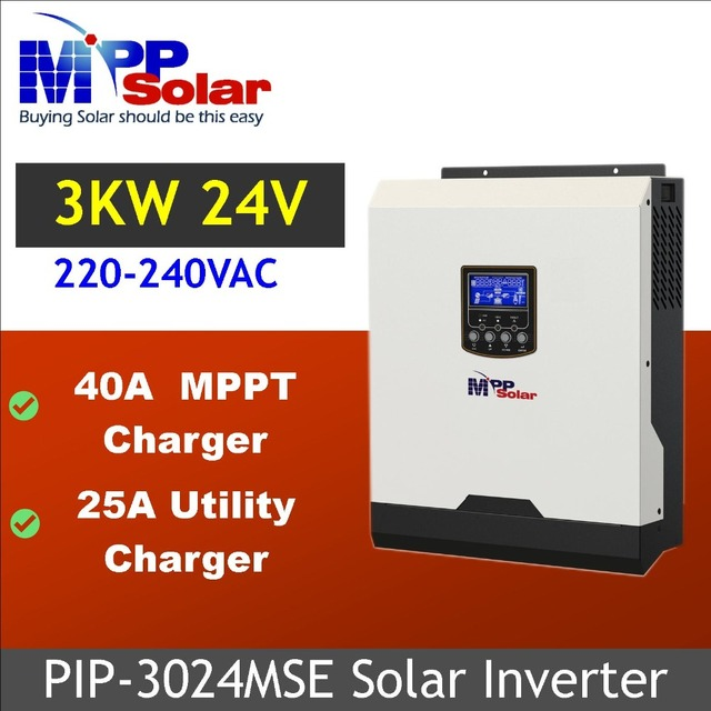 (MSE) omvormer 3kva 3000 w 24 v 230Vac + 40A MPPT solar charger + battery charger zuivere sinus