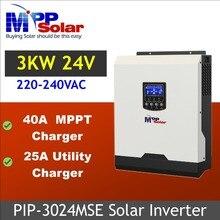 (Mse) inversor solar 3kva 3000w 24v 230vac + 40a mppt carregador solar + carregador de bateria onda senoidal pura