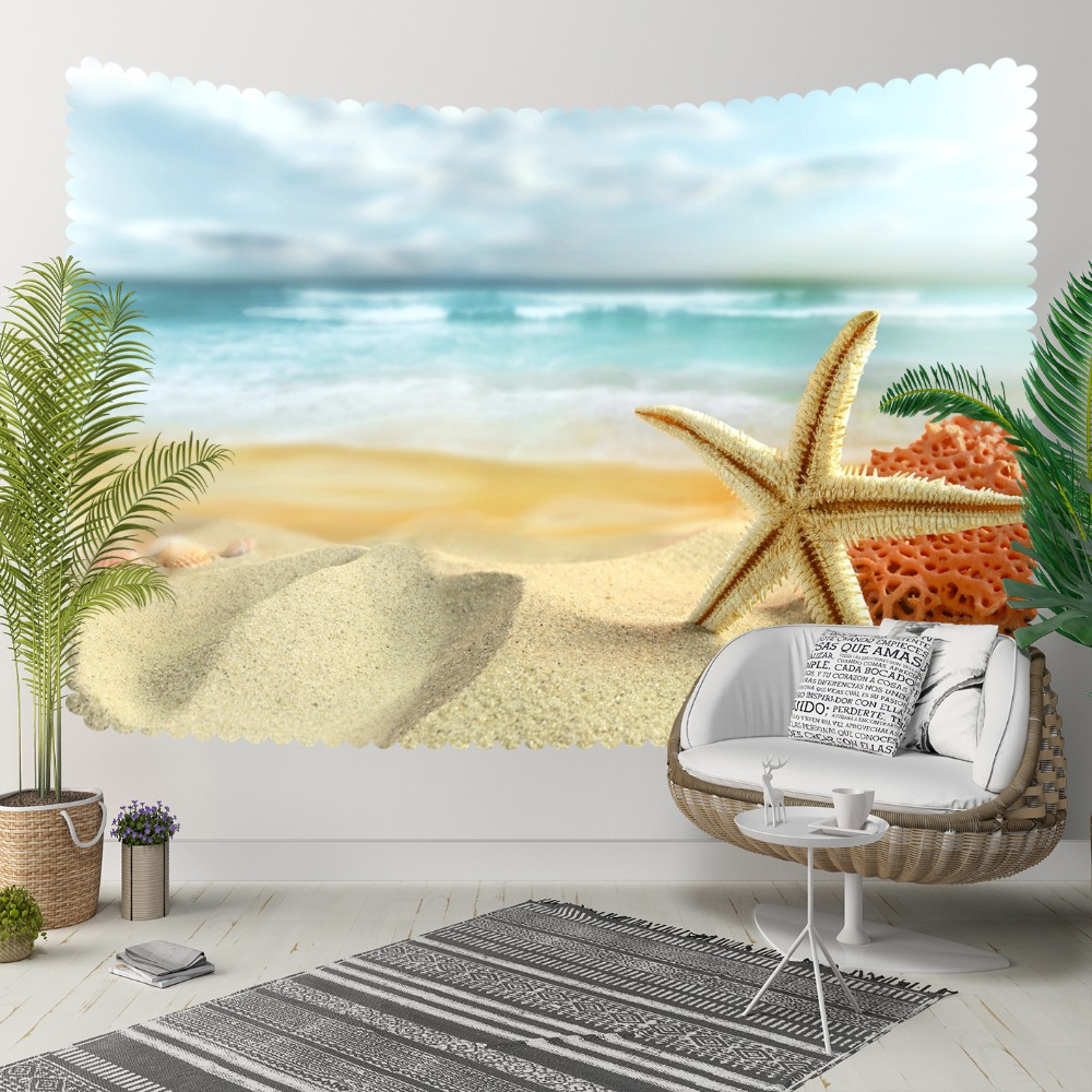 Else Tropical Brown Beach Side On Sea Shells Stars 3D Print Decorative Hippi Bohemian Wall Hanging Landscape Tapestry Wall Art
