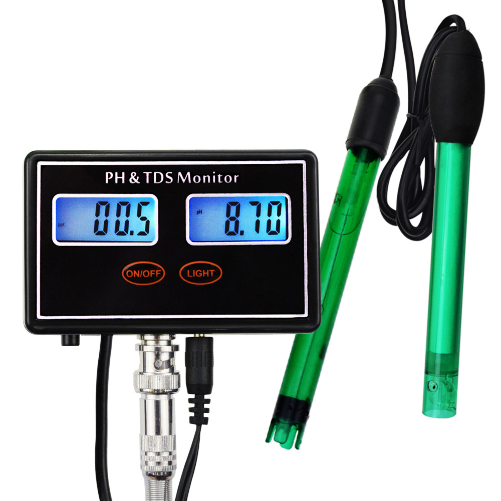 Digital Combo pH & TDS Monitor Meter Tester ATC for Aquaculture, Hydroponics, Pond, 0.00~14.00pH & 0.0~199.9ppt цена и фото