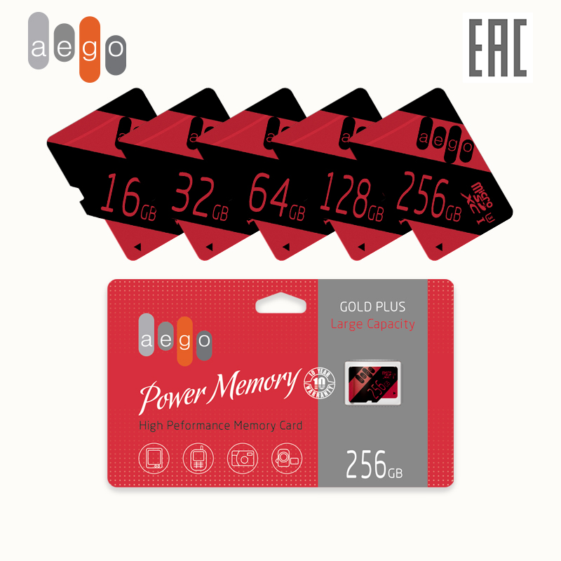 Cartão de memória AEGO 256 128 64 32 16 GB Classe microSDHC 10 U3 UHS-I (sem adaptador)