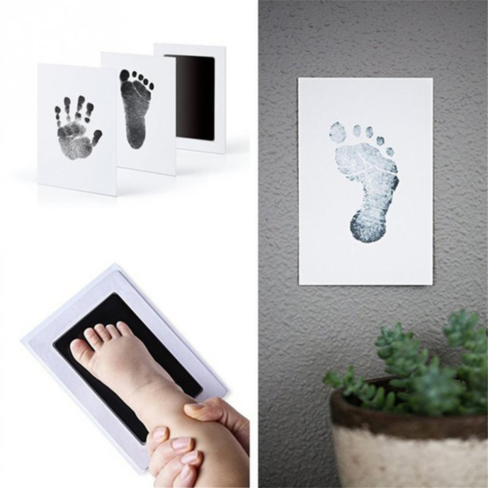 Baby Newborn Handprint Footprint Imprint Clean Touch Ink Pad Photo Frame Kit SF