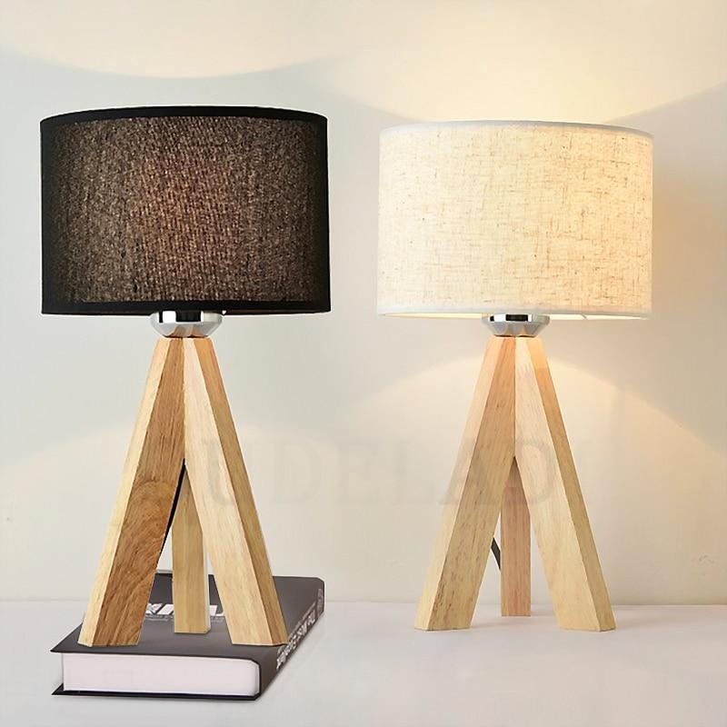 купить Wooden Table Lamp With Fabric Lampshade Wood Bedside Desk lights Modern Book Lamps E27 110V 220V Reading Lighting Fixture недорого