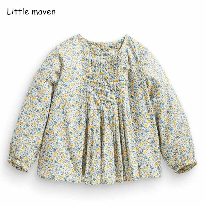 Little maven children brand baby girl clothes 2018 autumn new girls cotton long sleeve floral print t shirt 51242