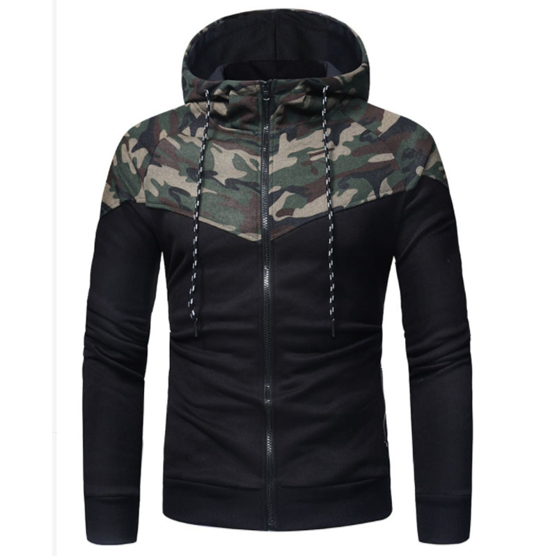 2018 New Men Hoodies Sweatshirt Fashion Splice Camouflage Military Tracksuit Casual Male Zipper Hooded Pullover XXXL