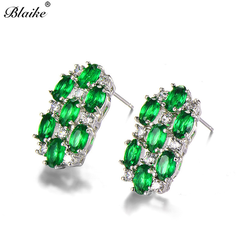 Detail Feedback Questions about Blaike Small Oval Green Red Purple Pink  Crystal Zircon Stud Earrings For Women 925 Sterling Silver Filled Birthstone  ... bc6dd95f55be