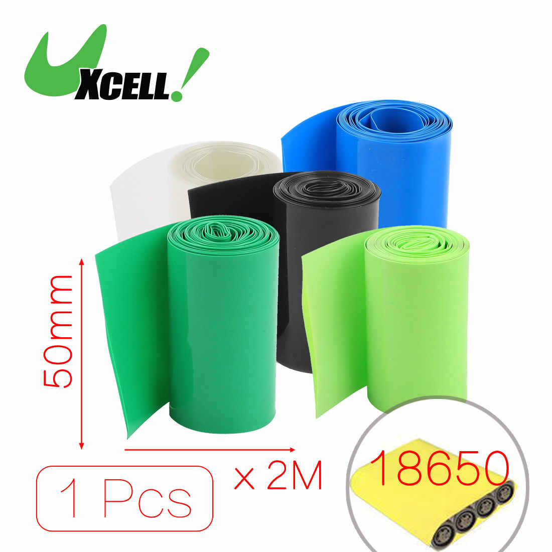 Uxcell Hot Sale 2Meters Width 50mm 56mm Pvc Heat Shrink Wrap Tube For 2 X 18650 Battery Black Clear Green Blue hot sale b 05 48v10 4ah ebike tube battery