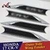 WENKAI 2 Black Car Front Side Wing Fender Emblem Badge Cover Trim For Honda CRV CR