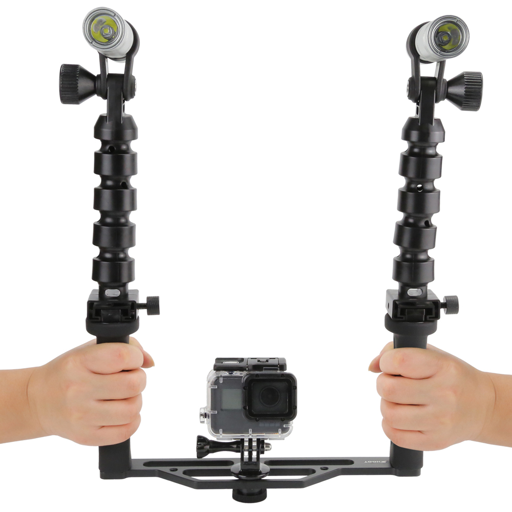 New Aluminum Skeletons Two Handle Waterproof Diving Flashlights for GoPro 5/4/3+ SJCAM Xiaomi Yi Action Camera Accessories - 2