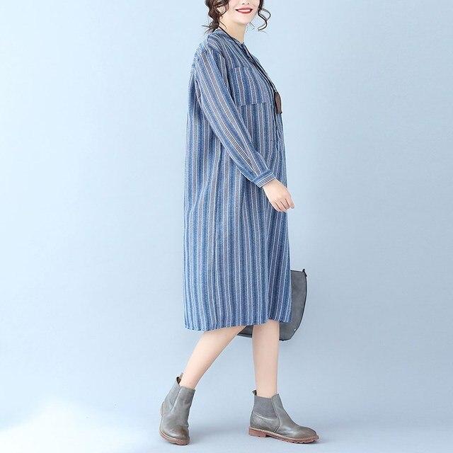 e80fdce9506 Autumn Women Midi Dresses Long Sleeve Pockets Buttons Shirt Dress Boyfriend  Casual Vestidos Cotton Linen Belt Striped Blusas
