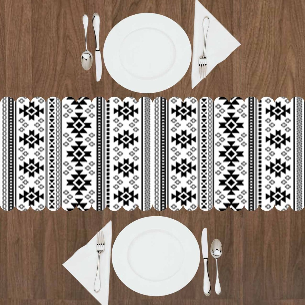 Else White Black Aztec Ethnic Damask Design 3d Print Pattern Modern Table Runner For Kitchen Dining Room Tablecloth