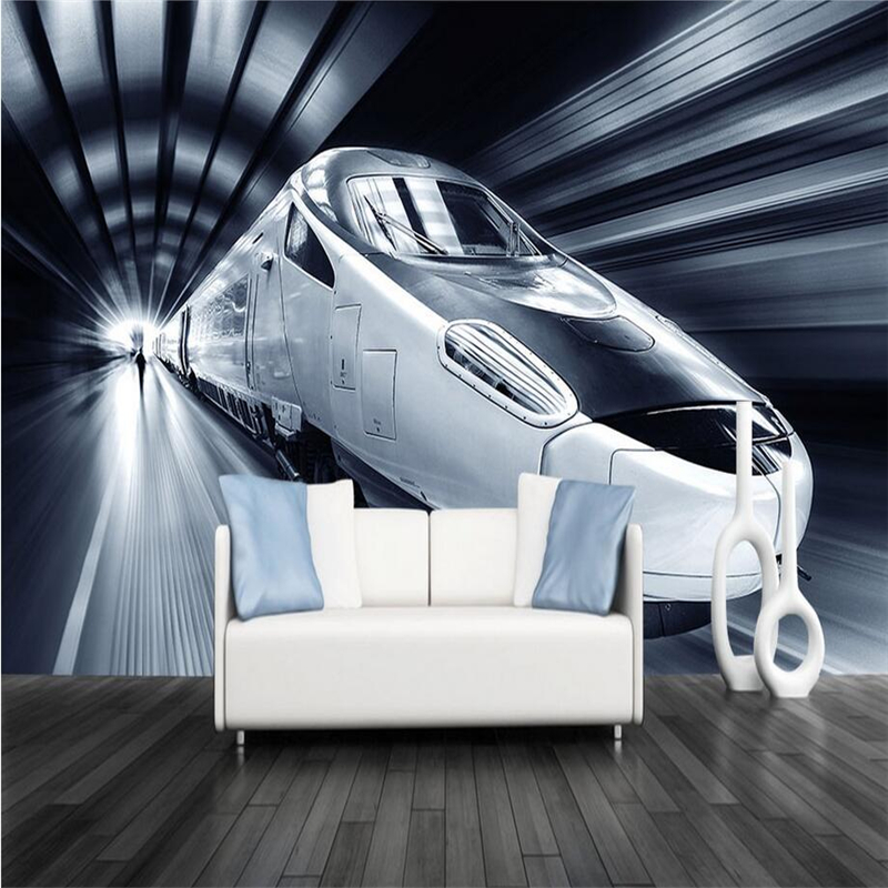 HD Custom Mural 3D Car Cool Wallpapers for Walls 3D Fashion Train Wall Covering Bedroom Home Decor Theme Restaurant Wallpaper fashion letters and zebra pattern removeable wall stickers for bedroom decor