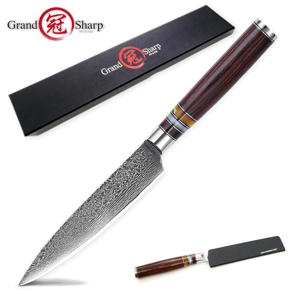 Damascus Kitchen Knife Utility Knife 67-layer Japanese Damascus Vg10 Stainless Steel Slicing Paring Fruit Salmon Chef Tools NEW