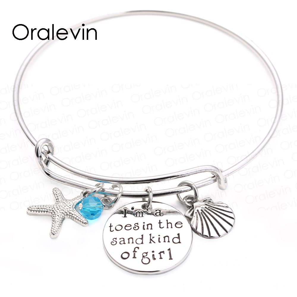 I am a toes in the sand kind of girl adjustable Expandable Wire Bangle Paml Beach girl Bracelet Bangle Women Girls Gift Jewelry