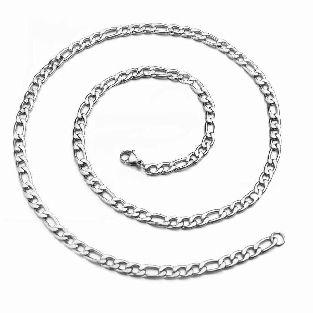 3 4.5 5.0 6.0 7.5mm 16-30 cal szeroki srebrny łańcuch figaro 316 ze stali naszyjnik ze stali kabel łączący liny karabińczyk dla mężczyzn