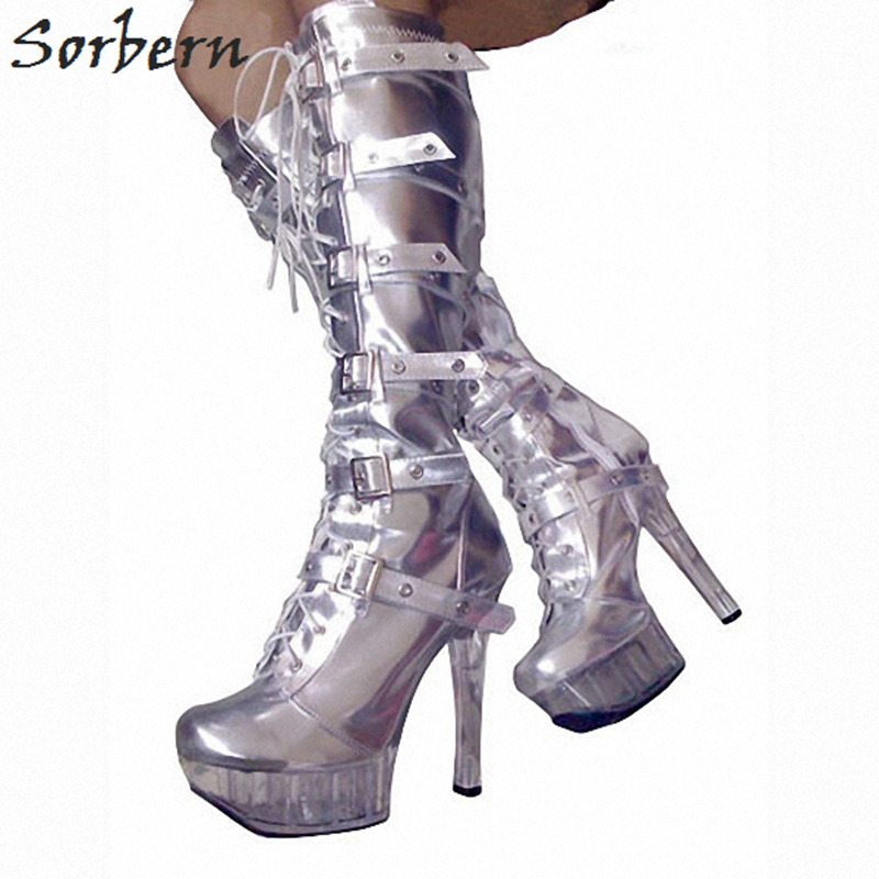 Sorbern 15Cm Spike High Heels Knee High Boots For Women Platform Shoes Ladies Punk Boots Gothic Shoes Females Platform Heels