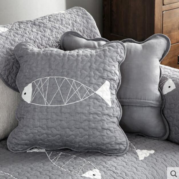 4040cm Simple Solid Color Grey Deep Blue 40% Cotton Fish Cushion Classy Decorative Quilted Pillows