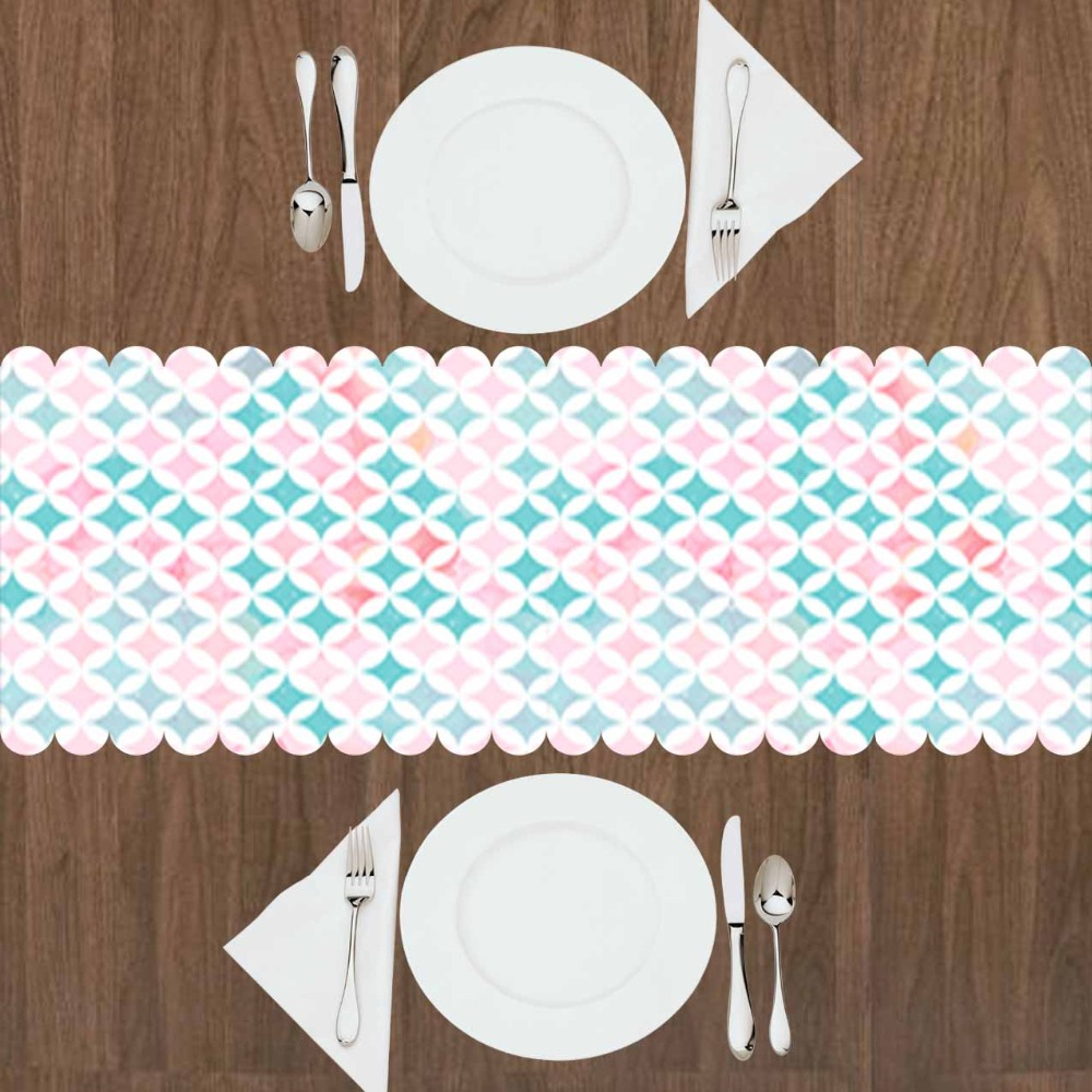Else Green Pink Geometric Tiles Lines 3d Print Pattern Modern Table Runner  For Kitchen Dining Room Tablecloth