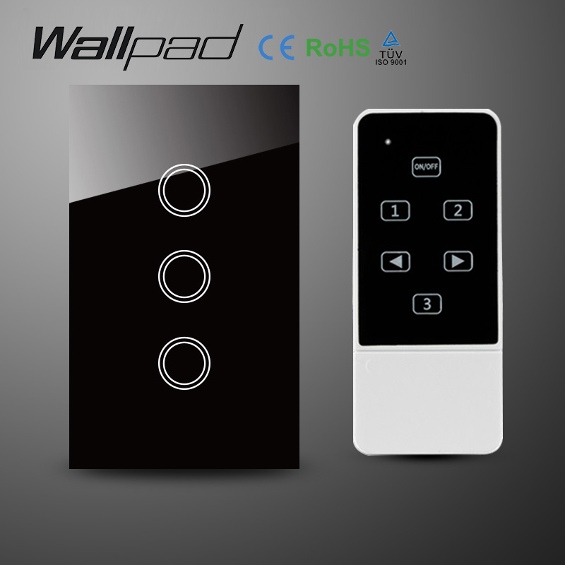 AC110-240V 3 Gangs 1 Way AU US Standard Wireless remote control Switch,Black Crystal Glass RF remote touch Switch, Free Shipping