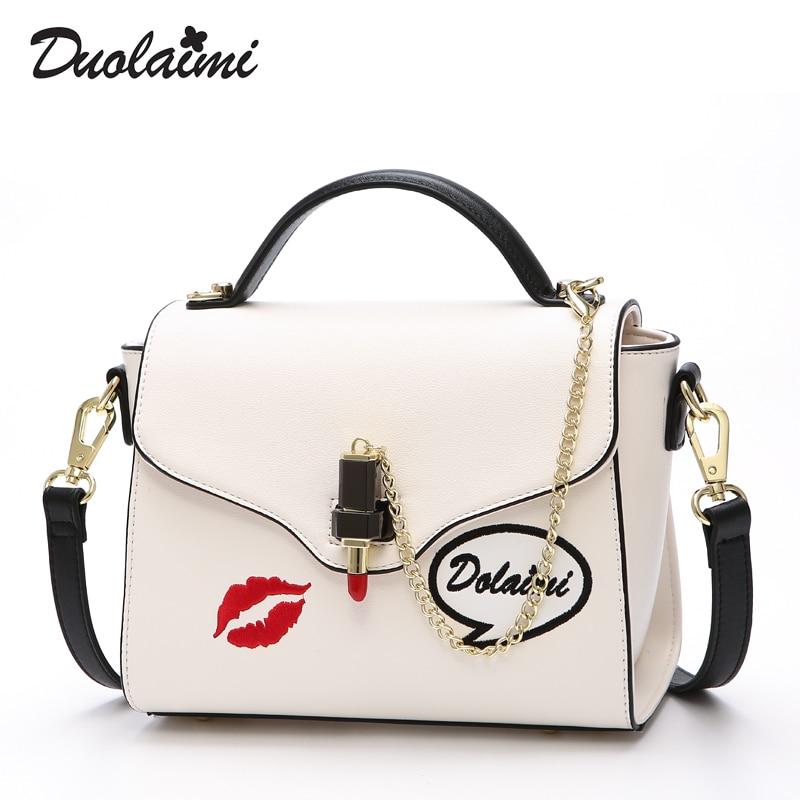 2018 new style duolaimi women bag fashion casual should bag white   free shipping