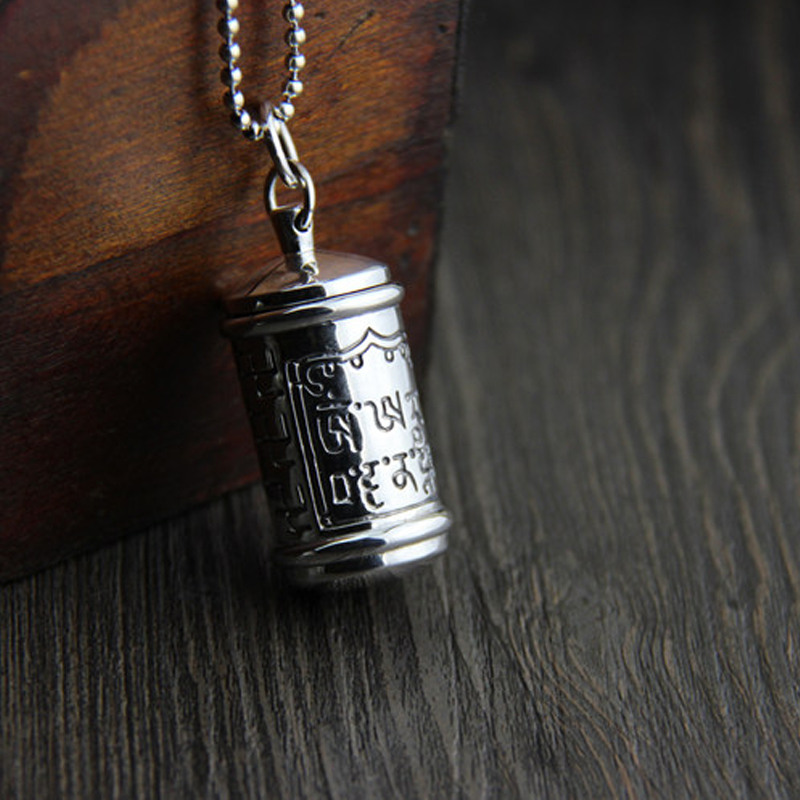 Sterling Silver S925 Silver Pendant Gawu Box Wholesale Silver Antique Style Shurangama mantra Can Open Style 44.6*21.8MM 36.5G s925 silver antique style men open world peace ring