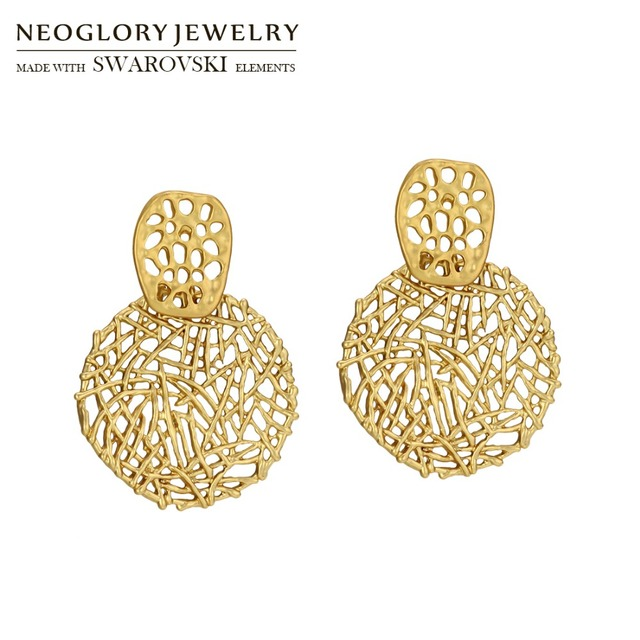 Neoglory Metal Matted Plated Long Dangle Earrings Wire-netting Geometric  Style Cool Lady Daily Party Dress Sweater Sale 0d7048bba330