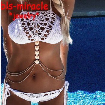 New style fashion jewelry accessories crystal  gold color punk  flower  body chain for women sexy statement body chains BN-11 Чокер