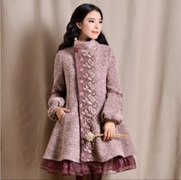 2018 New Fashion Women's Organza Patchwork Lace Embroidered Lantern Sleeve Long Coat Autumn Winter Wool Trench Outwear