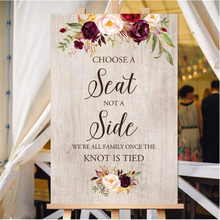 Choose a Seat not a Side Rustic Wedding Welcome Sign Wooden Welcome Sign Wedding Signs Painted on Canvas Easel Not Included(China)