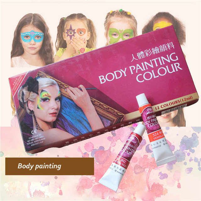12 Colors Colorful Body Painting Crayon Oil Painting Makeup Pigment Kids Halloween Face Body Paint Set Face Painting Color Pen