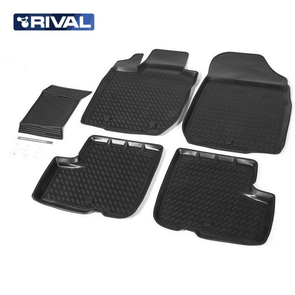 For Lada Largus 2012-2019 floor mats into saloon 5 pcs/set Rival 16003001 3d floor mats for lada largus element f620250e1