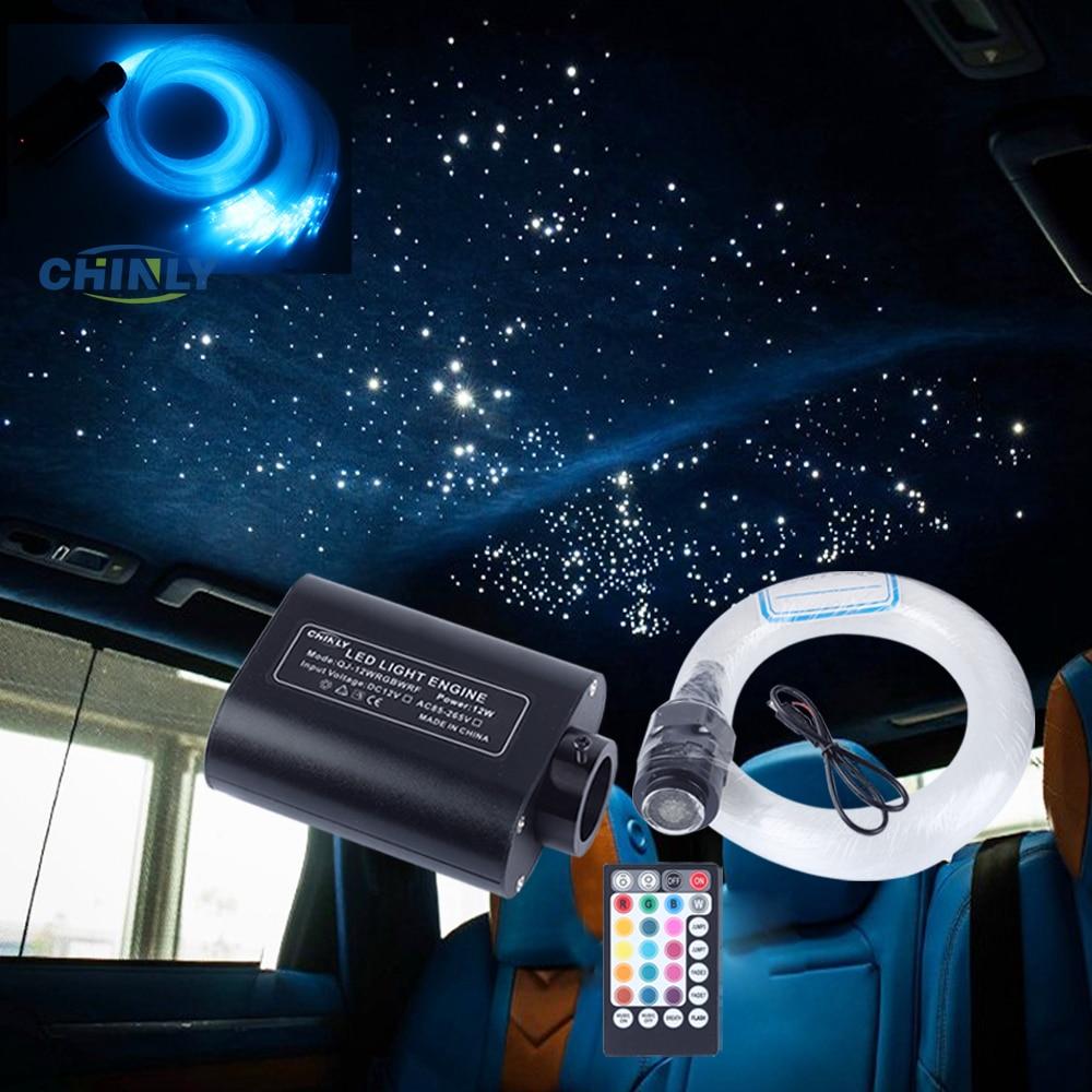12W Car Roof LED Fiber Optic Ceiling Starry Lights Musical Sound Active Control 3m 370 Strands