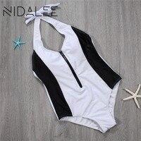 NIDALEE Sexy Deep V One Piece Swimsuit Women Zipper Swimsuit Beach Wear Swimwear Bathing Suits One Piece Women Swimwear