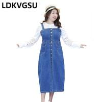 Denim Dress Women 2018 Summer New Plus Size 4XL Slim Sleeveless Summer Strap Pencil Dress Blue Midi Vestidos Female Is412