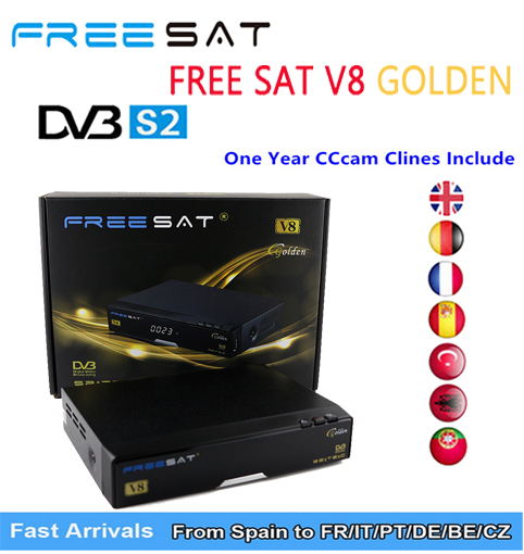 цена на V8 GOLODEN DVB-S2 HD Satellite TV BOX Receiver USB Wifi Support PowerVu Biss Key EUROPE CLINES Youtube Youporn Box FREESAT